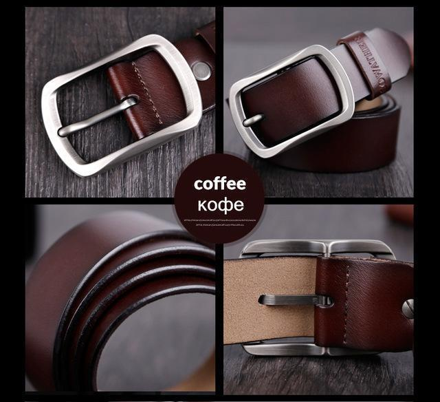 COWATHER cowhide genuine leather belts for men brand Strap male pin buckle vintage jeans belt 100-150 cm long waist 30-52 XF001-CY002 coffee-100cm-JadeMoghul Inc.