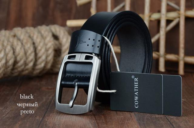 COWATHER cowhide genuine leather belts for men brand Strap male pin buckle vintage jeans belt 100-150 cm long waist 30-52 XF001-XF001 black-100cm-JadeMoghul Inc.