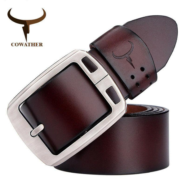 COWATHER cowhide genuine leather belts for men brand Strap male pin buckle vintage jeans belt 100-150 cm long waist 30-52 XF001-XF001 coffee-100cm-JadeMoghul Inc.