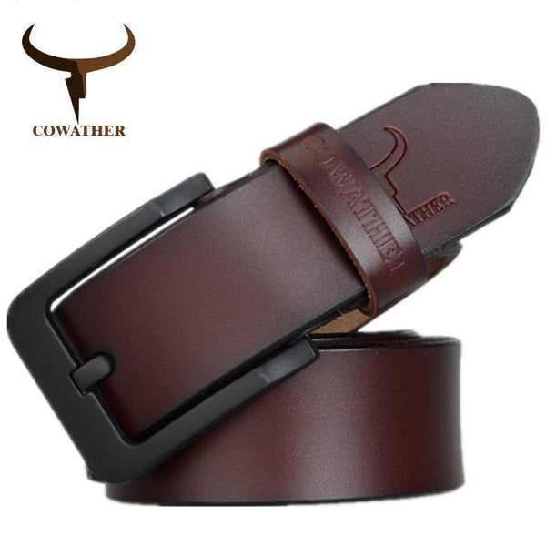 COWATHER male belt for mens high quality cow genuine leather belts 2017 hot sale strap fashion new jeans Black Buckle XF010-XF010 black-100cm-JadeMoghul Inc.