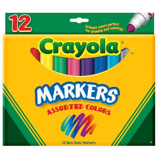 CRAYOLA MARKERS 12CT ASST COLORS-Arts & Crafts-JadeMoghul Inc.