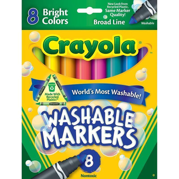 CRAYOLA WASHABLE 8CT BRIGHT COLORS-Arts & Crafts-JadeMoghul Inc.