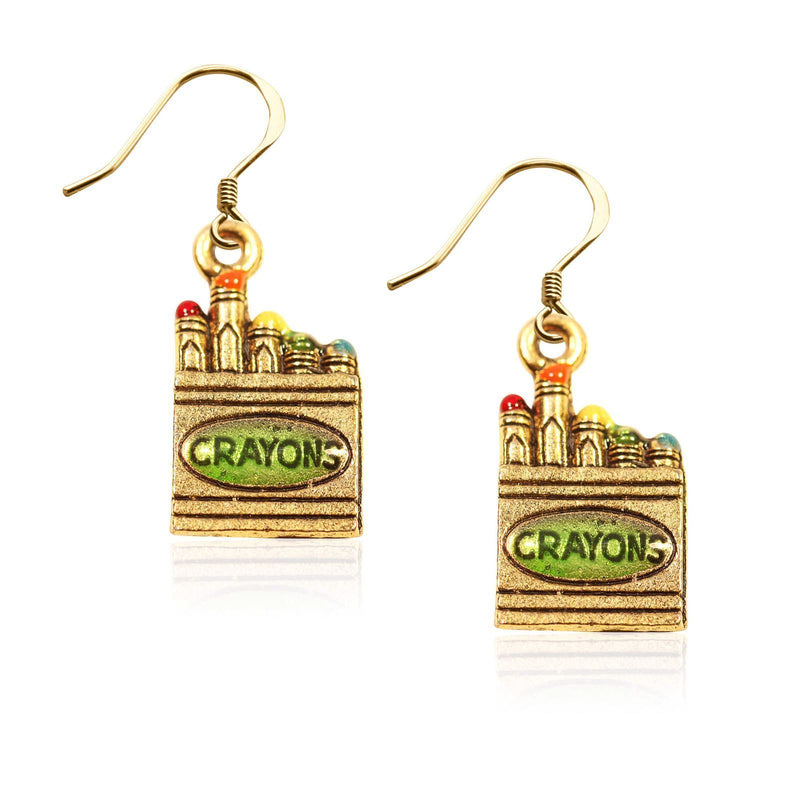 Crayons Charm Earrings in Gold-Charm-JadeMoghul Inc.