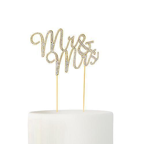 Crystal Rhinestone Mr & Mrs Cake Topper - Gold (Pack of 1)-Wedding Cake Toppers-JadeMoghul Inc.