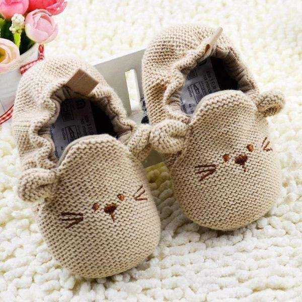 Cute Mouse Easy Slip On Baby Shoes-Khaki-3-JadeMoghul Inc.