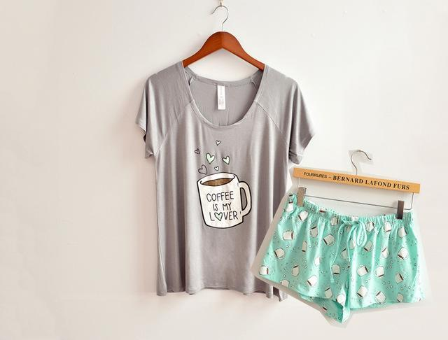Cute pajamas sets with white and pink /grey and green color coffee cups printed women pajama sets hot selling-Gray-One Size-JadeMoghul Inc.