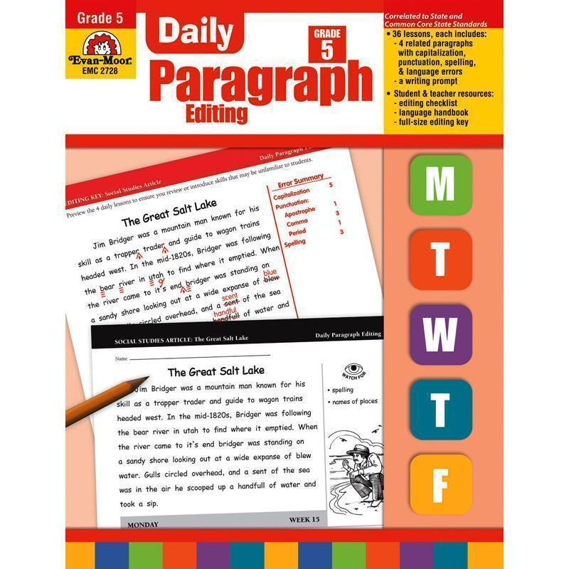 DAILY PARAGRAPH EDITING GR 5-Learning Materials-JadeMoghul Inc.