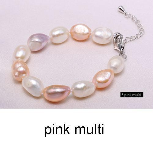 DAIMI 9-10mm Baroque Bracelet Natural White Freshwater Pearl Bracelet 6 Color For Choice Christmas Gift For Women-pink multi-JadeMoghul Inc.