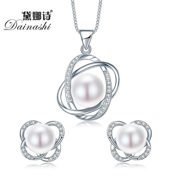 Dainashi 2017 Top Quality Trendy Cross 925 Sterling Silver Jewelry Sets Pendant Necklace & Earring Pearl Pendant Earrings-Pink-JadeMoghul Inc.