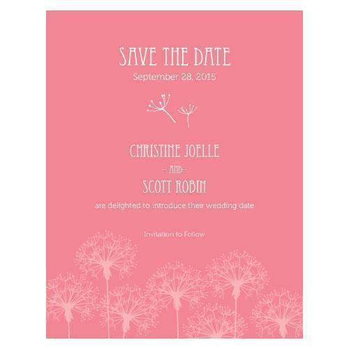 Dandelion Wishes Save The Date Card Berry (Pack of 1)-Weddingstar-Berry-JadeMoghul Inc.