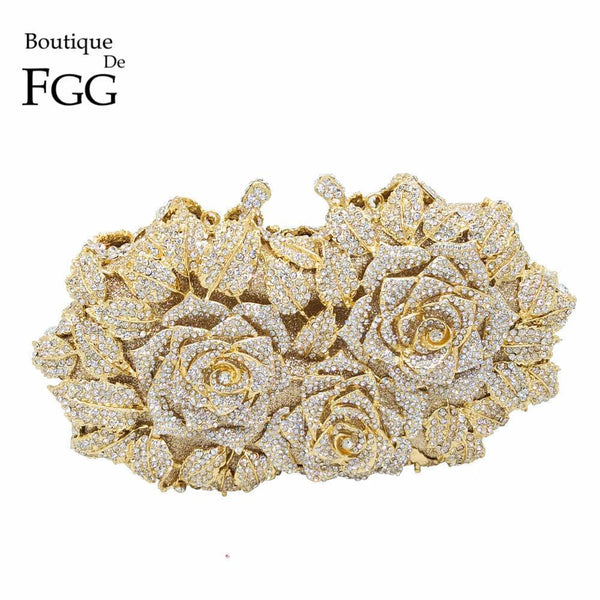Dazzling Women Gold Rose Flower Hollow Out Crystal Evening Metal Clutch-1-JadeMoghul Inc.