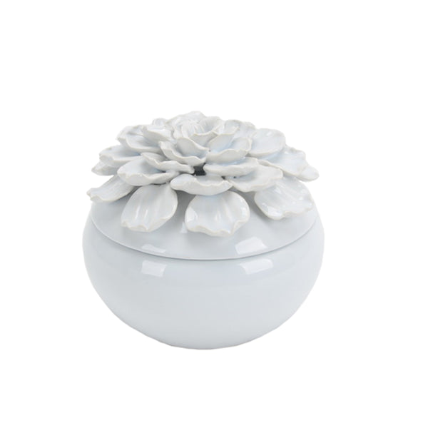 Decorative Ceramic Covered Jar with Embossed Petal Design On The Top Of Lid, Large, White