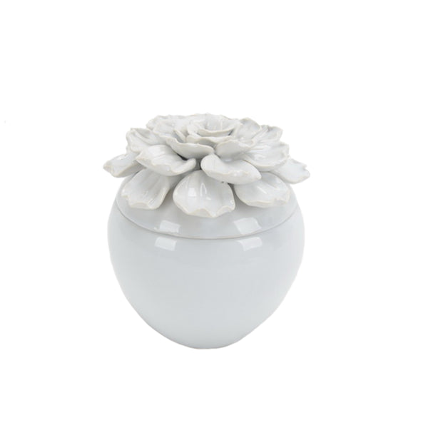 Decorative Ceramic Covered Jar with Embossed Petal Design On The Top Of Lid, Small, White