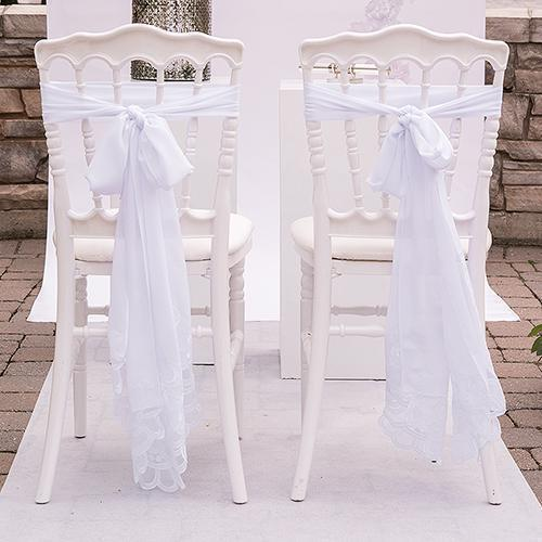 Decorative Chiffon Sash White (Pack of 1)-Table Top Décor-JadeMoghul Inc.