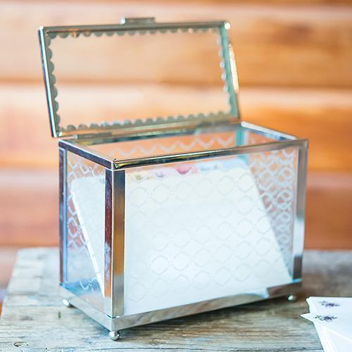 Decorative Glass Box with Mirror Base (Pack of 1)-Wedding Reception Accessories-JadeMoghul Inc.