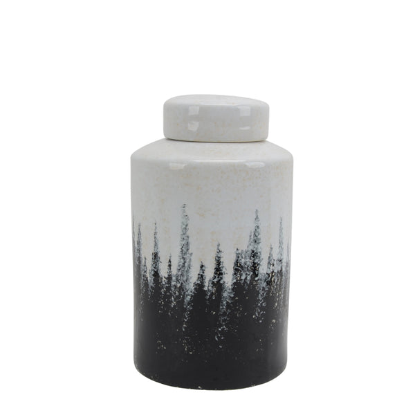 Decorative Lidded Jar with Two Toned Pattern, Black and White