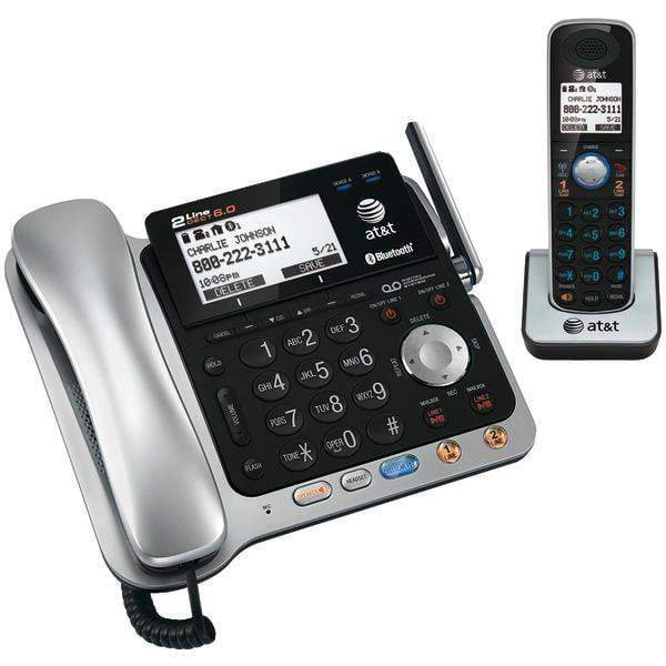 DECT 6.0 2-Line Connect to Cell(TM) Corded/Cordless Bluetooth(R) Phone System with Digital Answering System & Caller ID (Corded Base System & Single Handset)-Cordless Phones-JadeMoghul Inc.