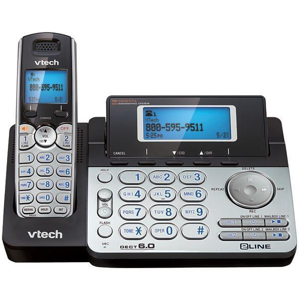 DECT 6.0 Cordless 2-Line Phone System with Digital Answering System (Single-Handset System)-Cordless Phones-JadeMoghul Inc.
