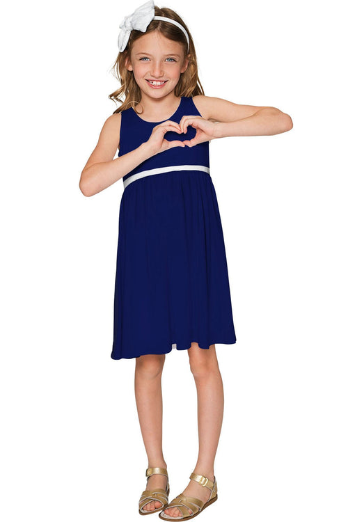 Deep Sea Sanibel Empire Waist Navy Catchy Dress - Girls-Solid-JadeMoghul Inc.