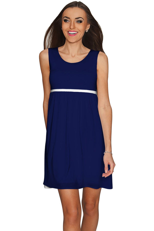 Deep Sea Sanibel Navy Empire Waist Mini Dress - Women-Solid-XS-Blue-JadeMoghul Inc.