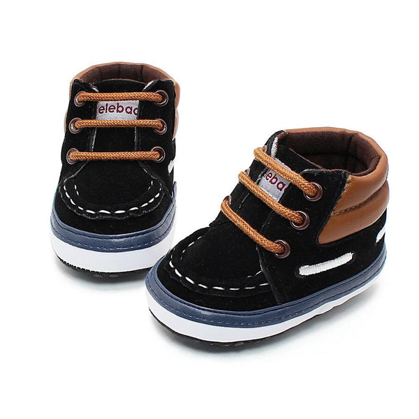 Delebao Autumn Spring Frosted Texture Soft Bottom Toddler Shoes By Hand Baby Shoes Cotton Shoes Keep Warm Lace Up First Walkers-Black-1-JadeMoghul Inc.