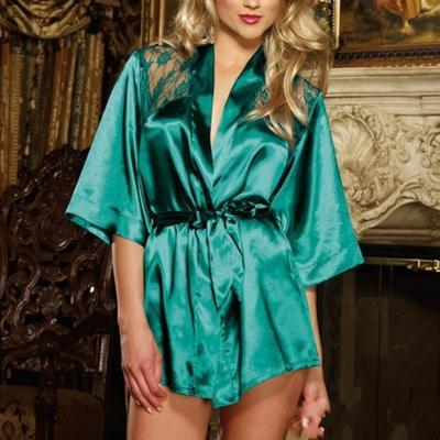 DeRuiLaDy Sexy Women Robe Backless Lace Splice Kimono Sauna Robe Femme Belt Home Bathrobe Sexy Mini Robe Kimono feminino-Green-L-JadeMoghul Inc.