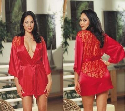DeRuiLaDy Sexy Women Robe Backless Lace Splice Kimono Sauna Robe Femme Belt Home Bathrobe Sexy Mini Robe Kimono feminino-Red-L-JadeMoghul Inc.