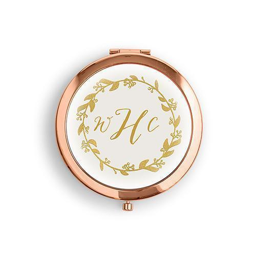 Designer Compact Mirror - Wreath Monogram Print Gold Gold (Pack of 1)-Personalized Gifts for Women-Gold-JadeMoghul Inc.