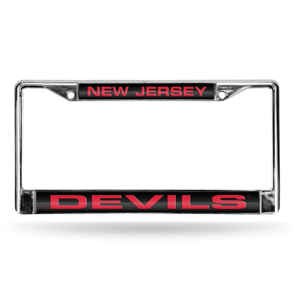 DEVILS ® LASER CHROME FRAME - BLACK BACKGROUND WITH RED LETTERS-FCL Chrome Laser License Frame-JadeMoghul Inc.