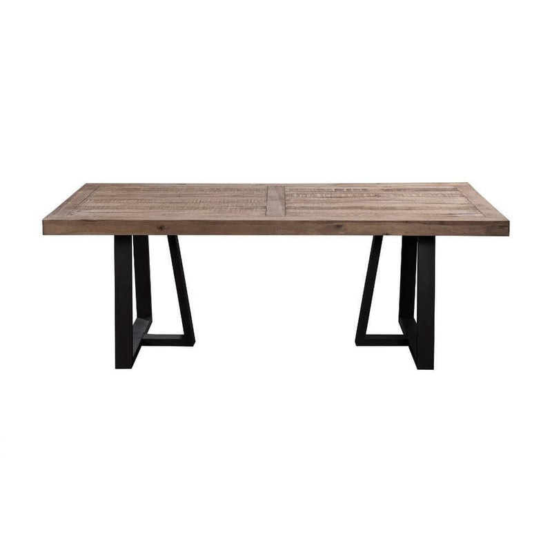 Dining Tables Wood And Metal Rectangular Dining Table Brown And Black Benzara