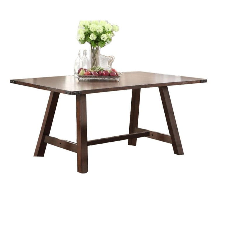 Dining Tables Wood-Veneer Dining Table, Natural Brown Finish Benzara