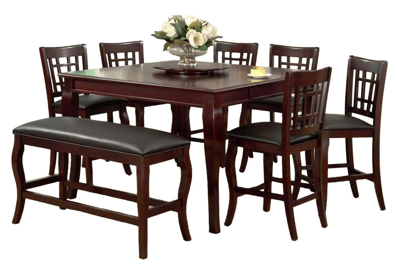 Dining Tables Wooden Counter Height Table with Lazy Susan, Cherry Brown Benzara
