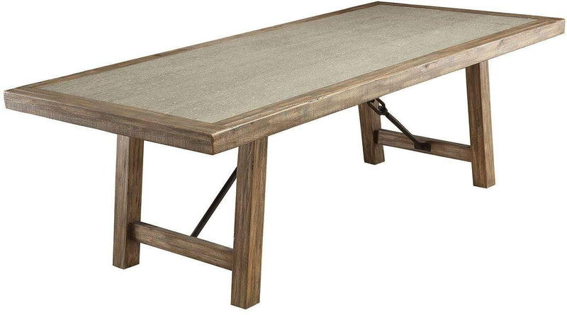 Dining Tables Wooden Dining Table, Rustic Oak Brown Benzara