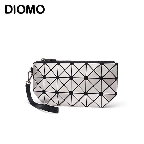 DIOMO 2017 laser hologram bag women clutches fashion geometric plaid wrist bag hand bag organizer makeup bag-Laser Silver-JadeMoghul Inc.
