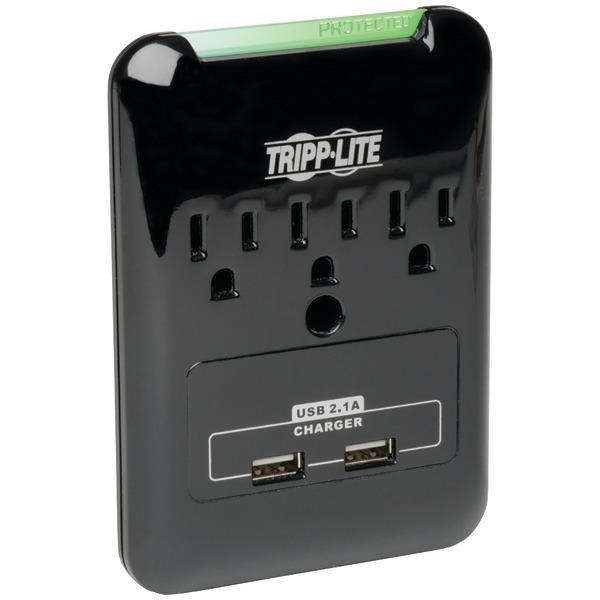 Direct Plug-in 3-Outlet Surge Protector with 2 USB Ports-Surge Protectors-JadeMoghul Inc.