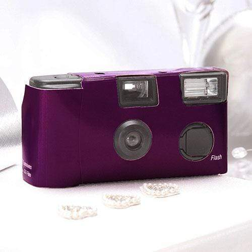 Disposable Cameras Purple Single Use Camera  Solid Color Design (Pack of 1) Weddingstar