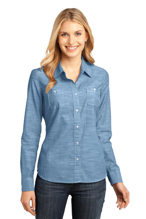 District Made - Ladies Long Sleeve Washed Woven Shirt. DM4800-Woven Shirts-Light Blue-4XL-JadeMoghul Inc.