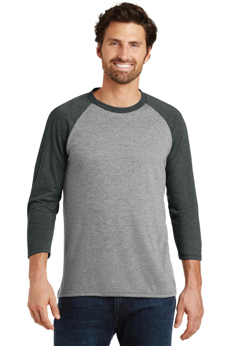 District Made Men's Perfect Tri 3/4-Sleeve Raglan. DM136-T-shirts-Black Frost/ Grey Frost-3XL-JadeMoghul Inc.