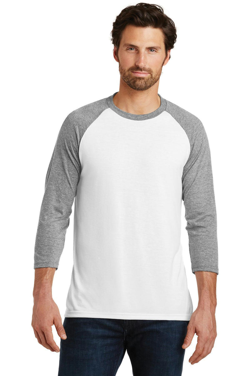 District Made Men's Perfect Tri 3/4-Sleeve Raglan. DM136-T-shirts-Grey Frost/ White-4XL-JadeMoghul Inc.