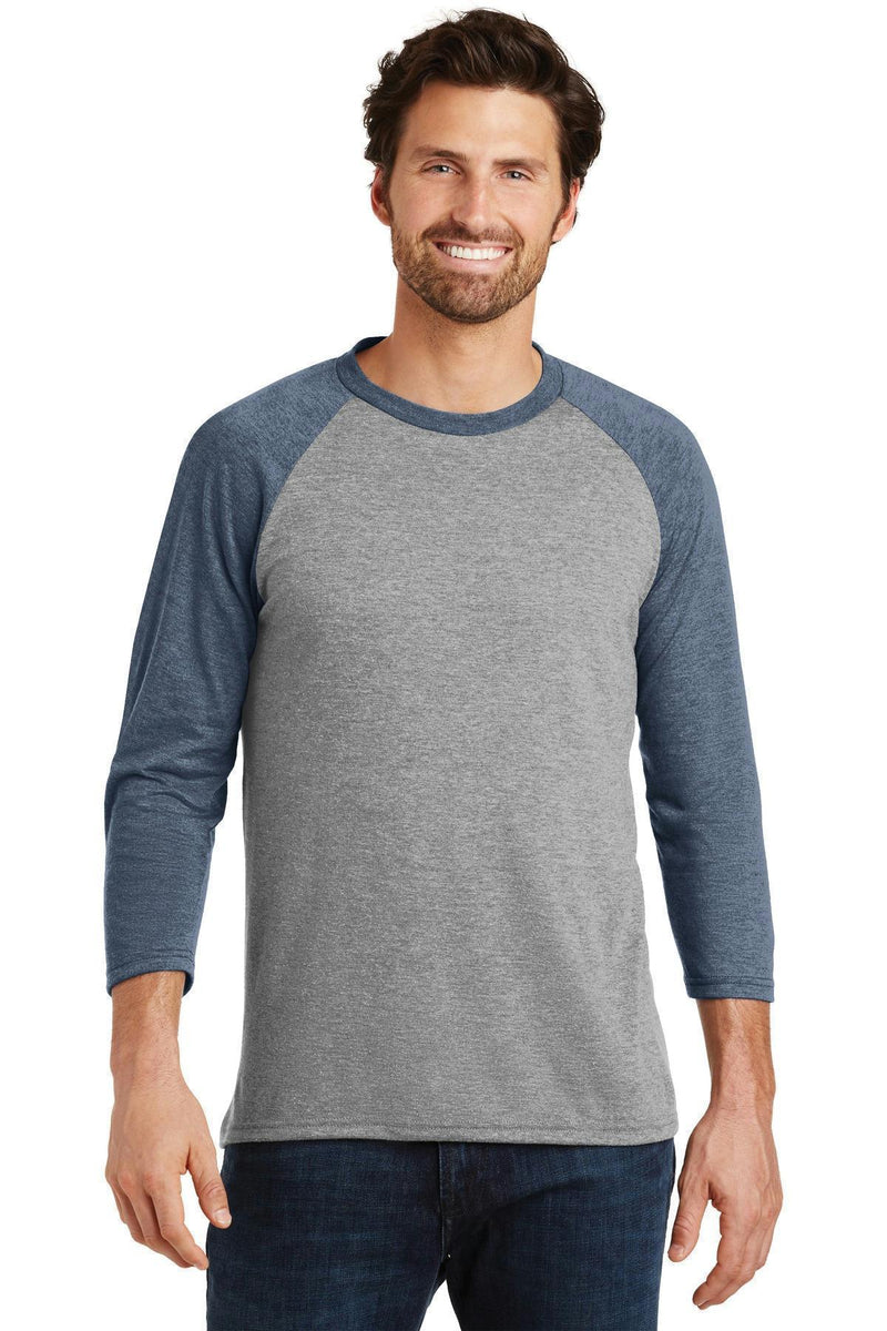 District Made Men's Perfect Tri 3/4-Sleeve Raglan. DM136-T-shirts-Navy Frost/ Grey Frost-4XL-JadeMoghul Inc.
