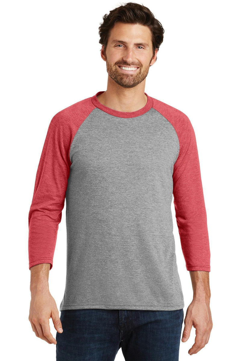 District Made Men's Perfect Tri 3/4-Sleeve Raglan. DM136-T-shirts-Red Frost/ Grey Frost-4XL-JadeMoghul Inc.