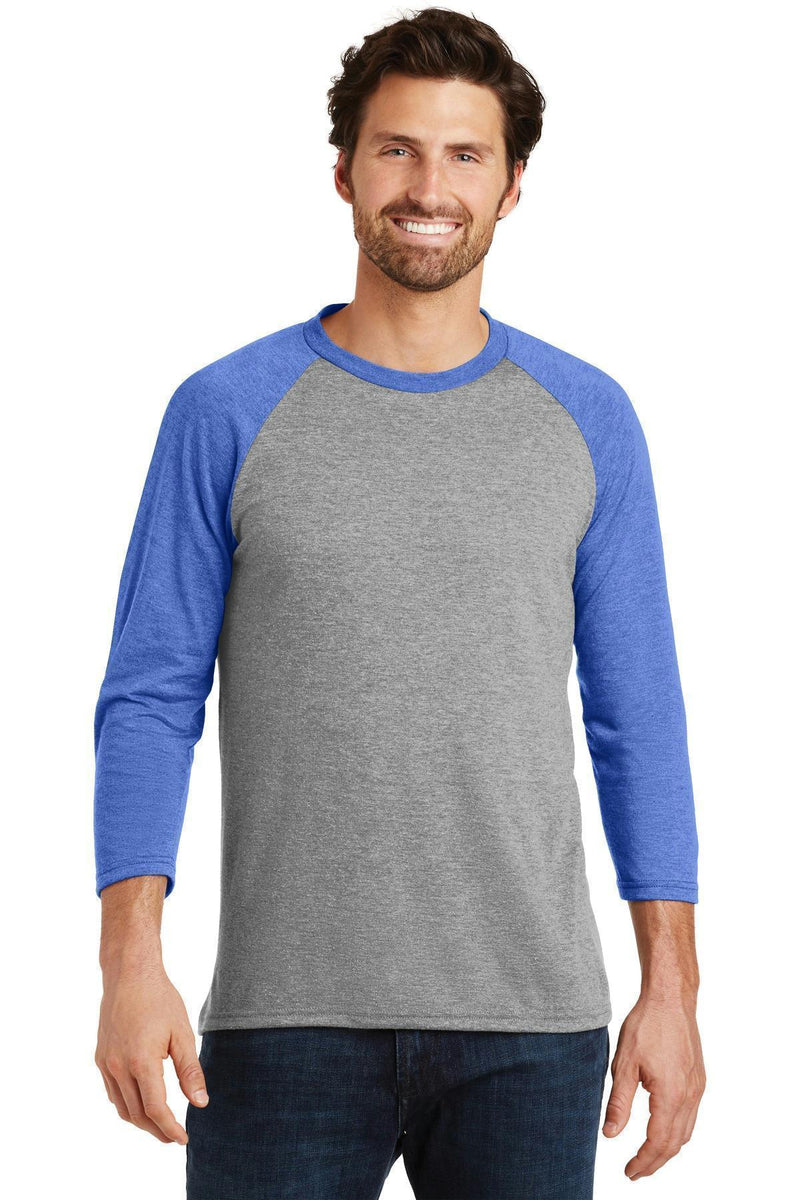 District Made Men's Perfect Tri 3/4-Sleeve Raglan. DM136-T-shirts-Royal Frost/ Grey Frost-4XL-JadeMoghul Inc.