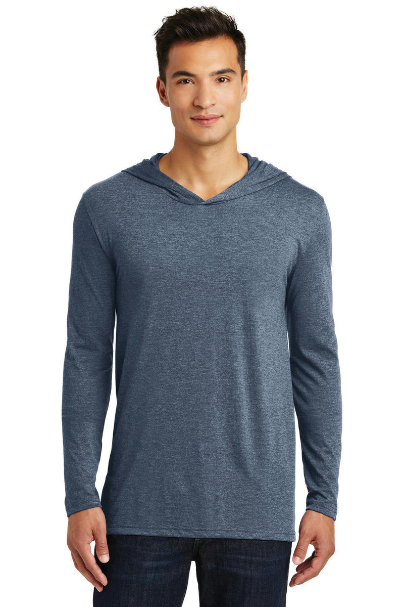 District Made Men's Perfect Tri Long Sleeve Hoodie. DM139-T-shirts-Navy Frost-L-JadeMoghul Inc.