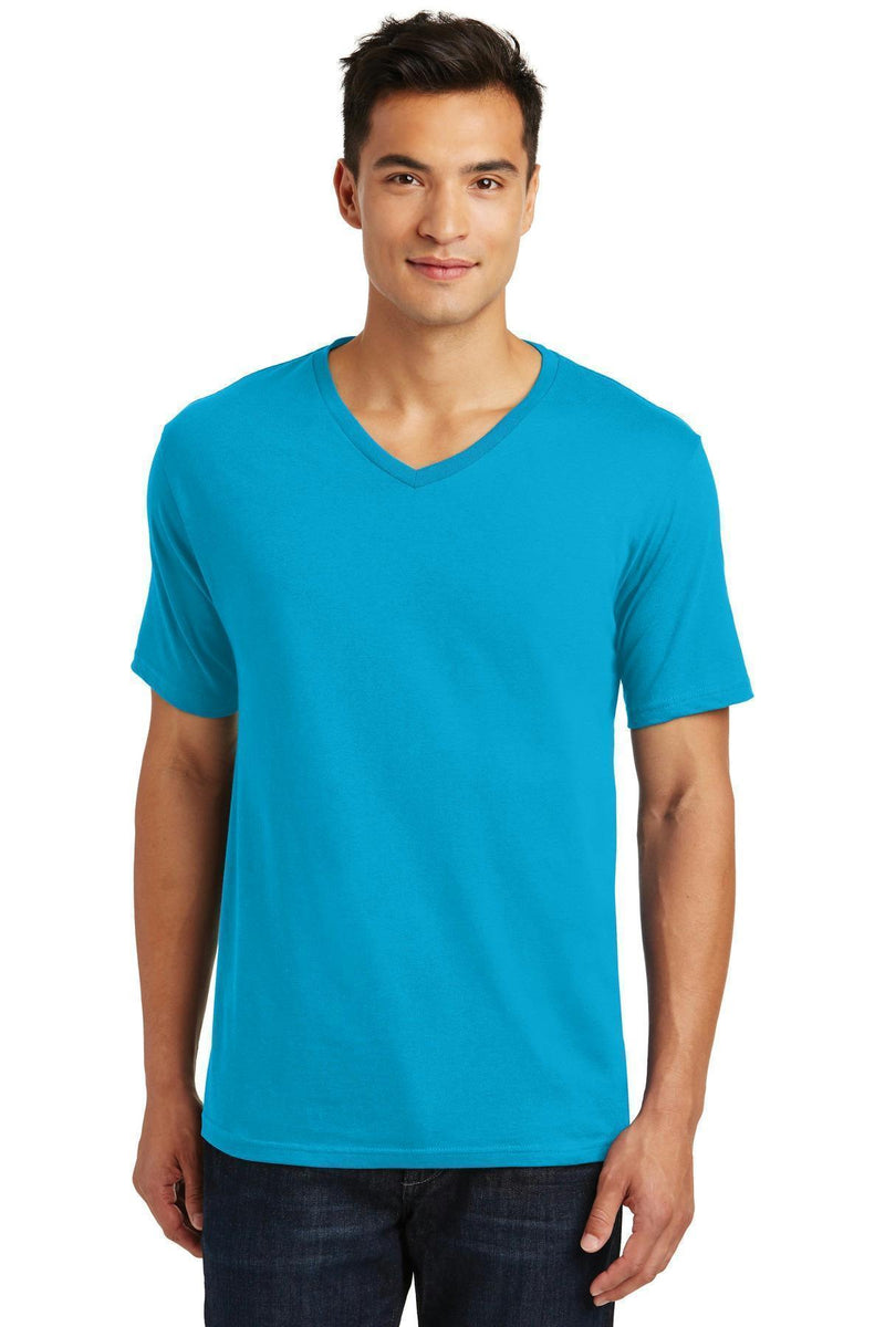 District Made Men's Perfect Weight V-Neck Tee. DT1170-T-shirts-Bright Turquoise-4XL-JadeMoghul Inc.