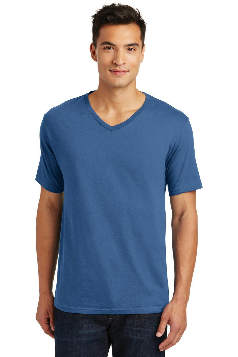 District Made Men's Perfect Weight V-Neck Tee. DT1170-T-shirts-Maritime Blue-4XL-JadeMoghul Inc.