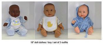 DOLL CLOTHES SET OF 3 BOY OUTFITS-Toys & Games-JadeMoghul Inc.