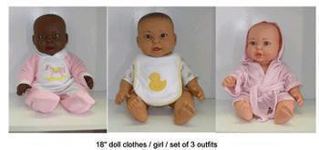 DOLL CLOTHES SET OF 3 GIRL OUTFITS-Toys & Games-JadeMoghul Inc.