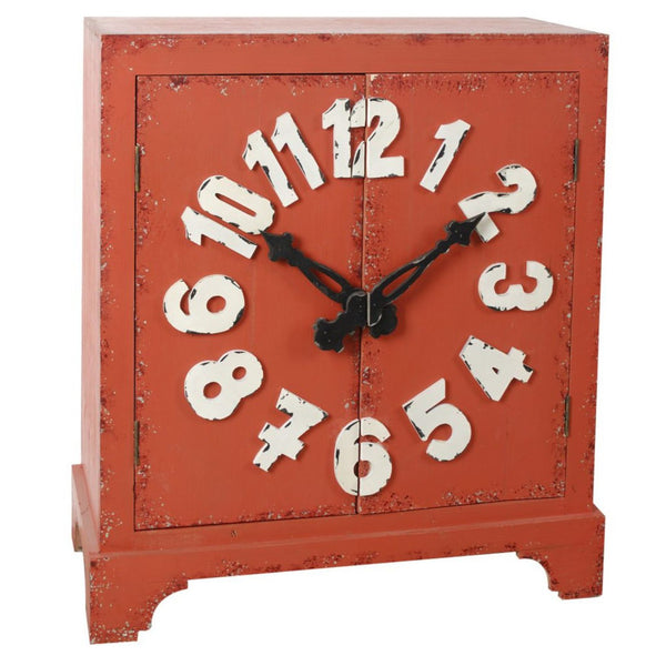 Double Door Wooden Cabinet with Clock and Numeral Front, Red and White-Cabinet & Storage Chests-Red and White-Fir Wood, MDF, Metal-JadeMoghul Inc.