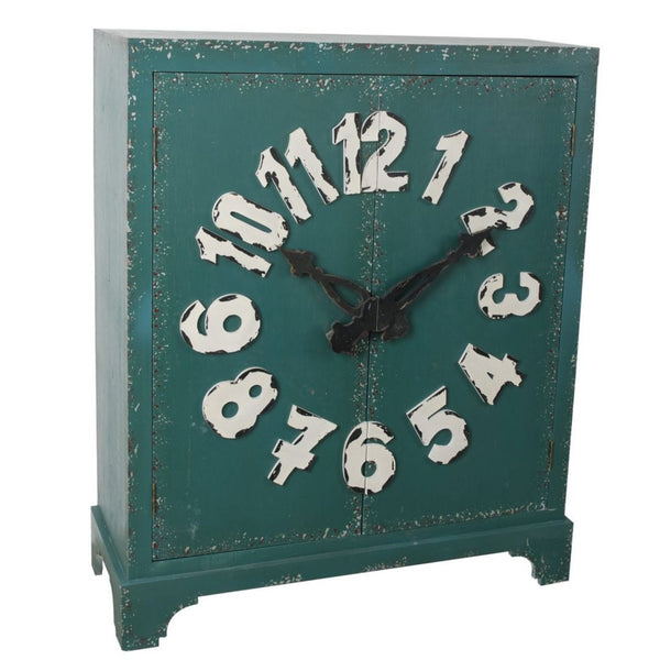 Double Door Wooden Cabinet with Clock and Numeral Front, Teal Green and White-Cabinet & Storage Chests-Green and White-Fir Wood, MDF, Metal-JadeMoghul Inc.