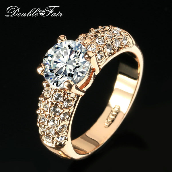 Double Fair Engagement Wedding Rings Cubic Zirconia Silver/Rose Gold Color CZ Stone Ring Jewelry For Women anel Wholesale DFR105-5.5-White-Platinum Plated-JadeMoghul Inc.